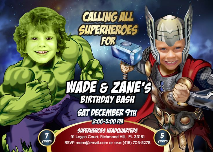 Thor and Hulk Birthday Party Invitation. Thor and Hulk Birthday Party. Thor and Hulk Party Ideas. Avengers Siblings Party Ideas.  #thorHulkpartyideas #thotHulkbirthday #Avengersbirthdayideas #AvengersPartyinvitation #thorragnarok #myheroathome