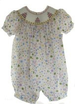 Royal Child Girls Smocked Birthday Romper