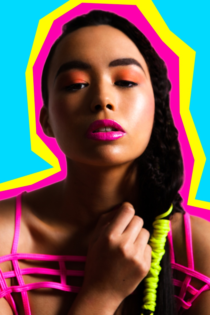 Neon Lights  Makeup Tobi Henney  Hair Vanessa Henwood  Photography Dan Hilburn  Styling Lydia Saunders  Model Sarah