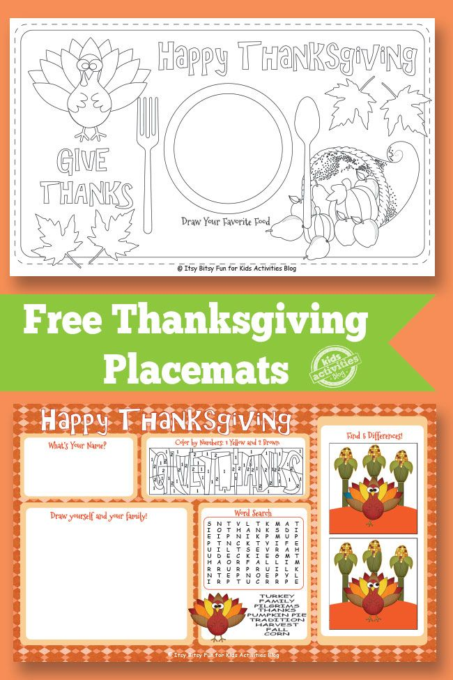 Kids Activities Blog has FREE Thanksgiving Placemats for your little ones!Your kids will have fun with coloring placemats, color by nu
