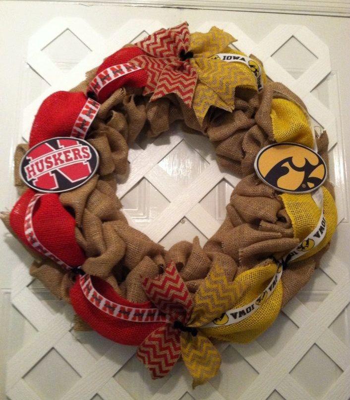Nebraska Cornhusker / Iowa Hawkeyes House Divided Wreath