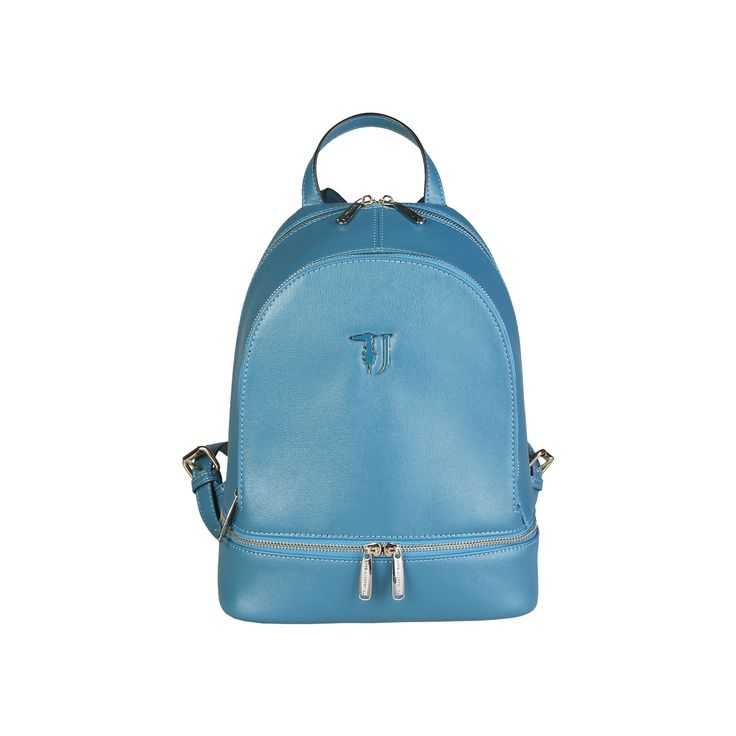 Trussardi – 75B602T  Backpack of Saffiano eco-leather has adjustable shoulder straps, front and perimeter pocket with double metal zipper, enameled metal logo, multi-pocket internal organization ,fully lined with washable custom fabric and metal branded external zip. It is of size 25,5*32,5*14 cm.  https://fashiondose24.com