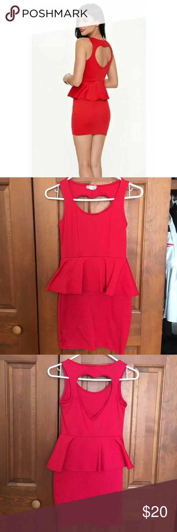 PacSun Kirra Red Peplum Dress with Heart Cut Out Beautiful red dress with a heart cut out on the back! Kirra Dresses