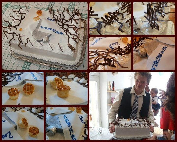 Graduation cake - Kedves unokatesóm, Zsolti ballagási tortája. A laposüveg kifigyel a batyuból...