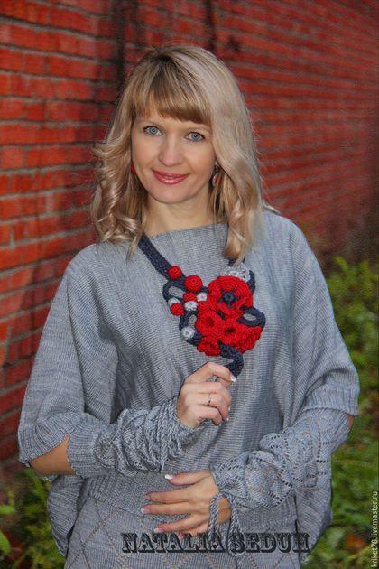 Купить или заказать Костюм Lady In Red красный костюм из полушерсти мериноса в интернет-магазине на Ярмарке Мастеров. Красный костюм из полушерсти мериноса. Вязаный костюм тройка очень мягкий и уютный. В вязаный костюм входят: жилетсвободного и модного кроя украшенный элементами ирландского кружева, юбка ажурная с готовым подъюбником из качественной ткани, нарукавники ажурные, украшение ручной работы по выбору клиента за дополнительную плату. Красный цвет жизни энергии и притяжения.