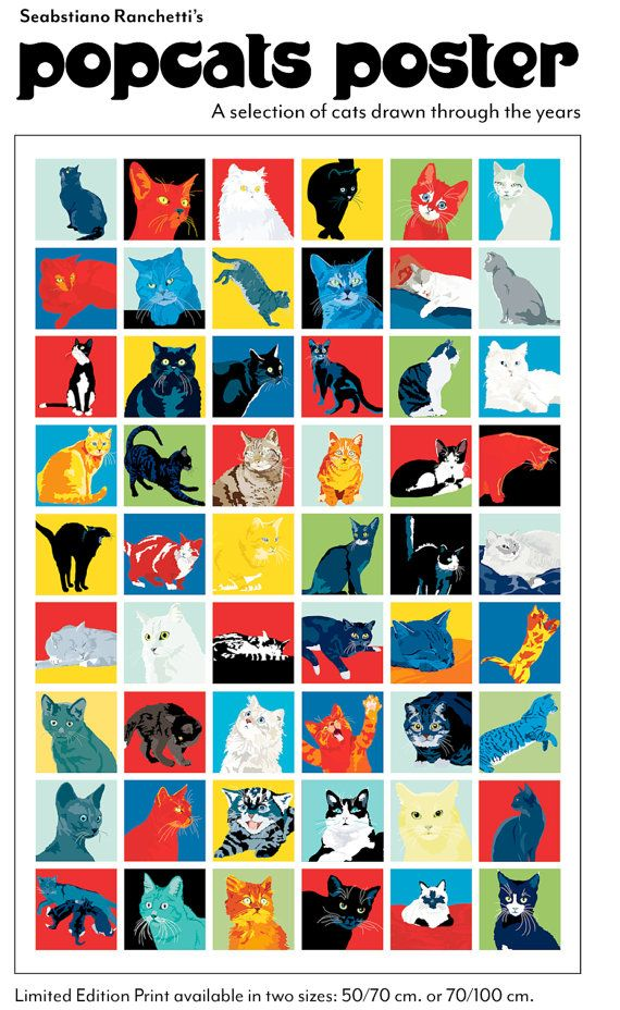 Pop Cats Limited Edition Poster by animalsincolor on Etsy, $60.00