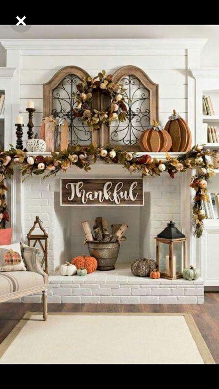 40 Elegant Fall Mantel Decor Ideas Fall Living Room Decor Fall