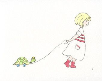 Little Girl and Toy Tortoise Watercolour Illustration by emilieOillustration