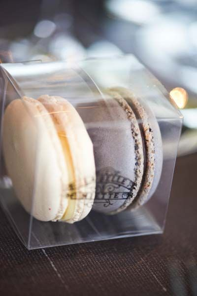 La Belle Miette provided the most decadent macaron bonbonniere, says Thalia. 'The Salted Caramel flavour was the favourite among the 230 guests. Image by Blumenthal Photography.