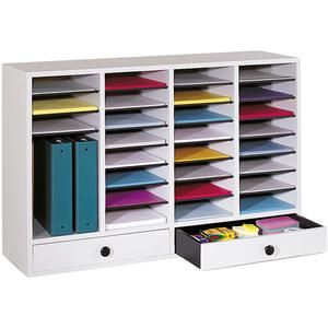 Wood Literature Organizer with Drawers - 32 Adjustable Compartments at SCHOOLSin