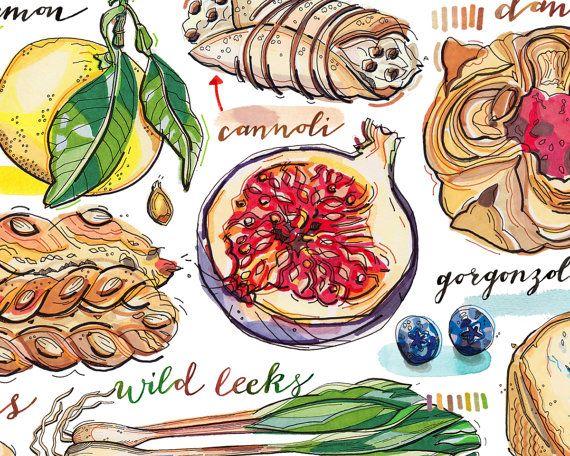 Essen-Kunst. Küche Dekor. Gut essen gut leben. von LouPaper auf Etsy