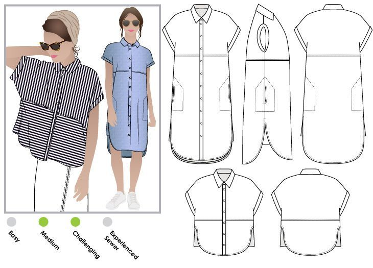 Are you looking to sew a shirt dress? Check out this StyleArc Blaire shirt…