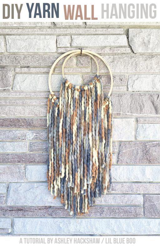 17 best ideas about yarn wall hanging on pinterest yarn for Diy yarn wall art
