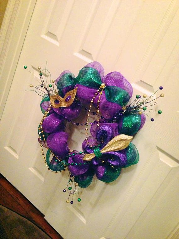 Another take on a Mardi Gras Wreath!