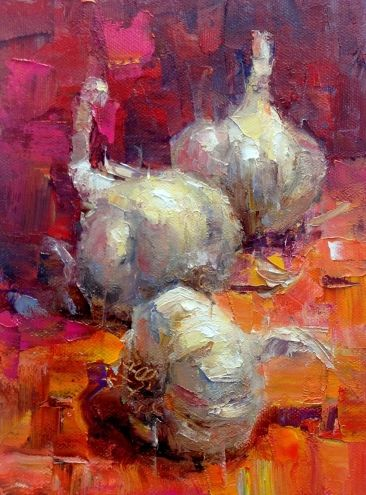 I love the orange and pink! Garlic Trio, painting by artist Julie Ford Oliver