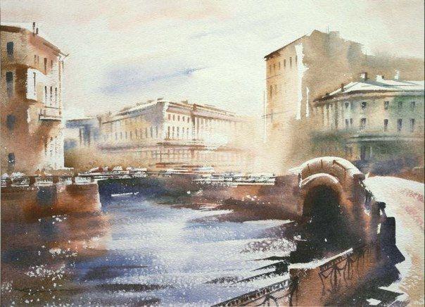 Городские пейзажи Санкт-Петербурга на картинах художника Константина Кузема