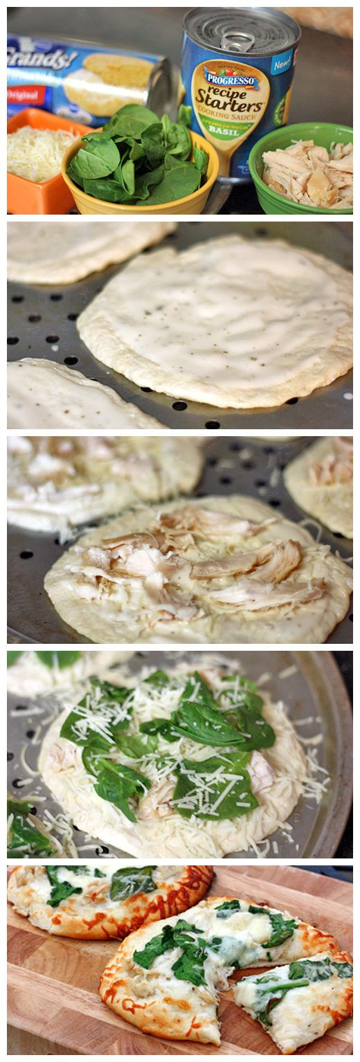 Chicken Alfredo Biscuit Pizzas | Bake for 7-10 minutes at 400F or if you want to grill them, place on grill over medium high heat for 10 minutes.  Serve immediately.