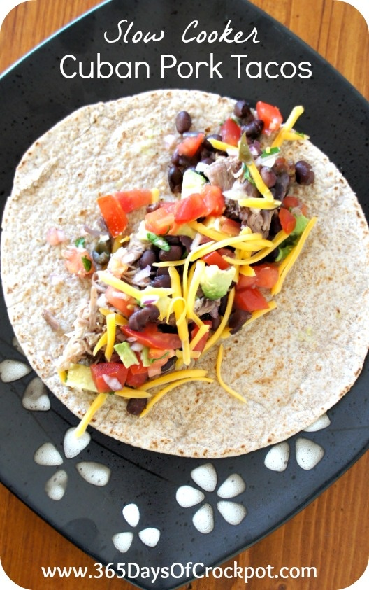 365 Days of Slow Cooking: Making an entire meal in slow cookers (4 recipes)! Cuban Pork Tacos, spanish rice, black beans