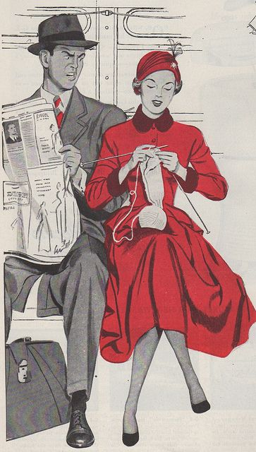 "Vintage knitting, 1948. ""Don't be a Knitwit"" - Too late!"