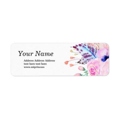 boho flowers floral  return address stickers - pink gifts style ideas cyo unique