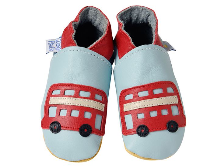 Bus on pale blue baby booties