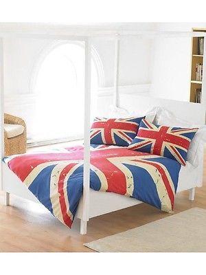 housse de couette vintage union jack 2 places ma mode. Black Bedroom Furniture Sets. Home Design Ideas