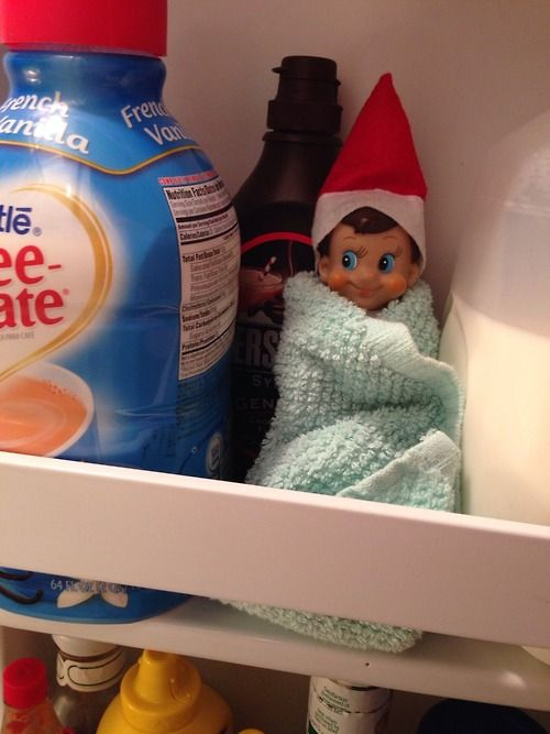 Elf on the Shelf in the fridge wrapped up in a towel. Because he misses Santa and the North Pole: