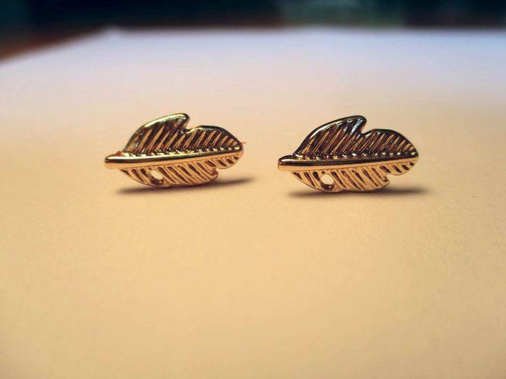 Gold Plated Leaf Stud Earrings | Trade Me