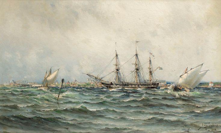 Herman af Sillen 1857-1908 Frigate anchored outside Karlskrona, 1892