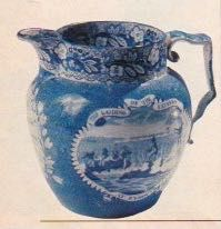Historical Blue Staffordshire pitcher, depicts the landing of the pilgrim fathers at Plymouth.