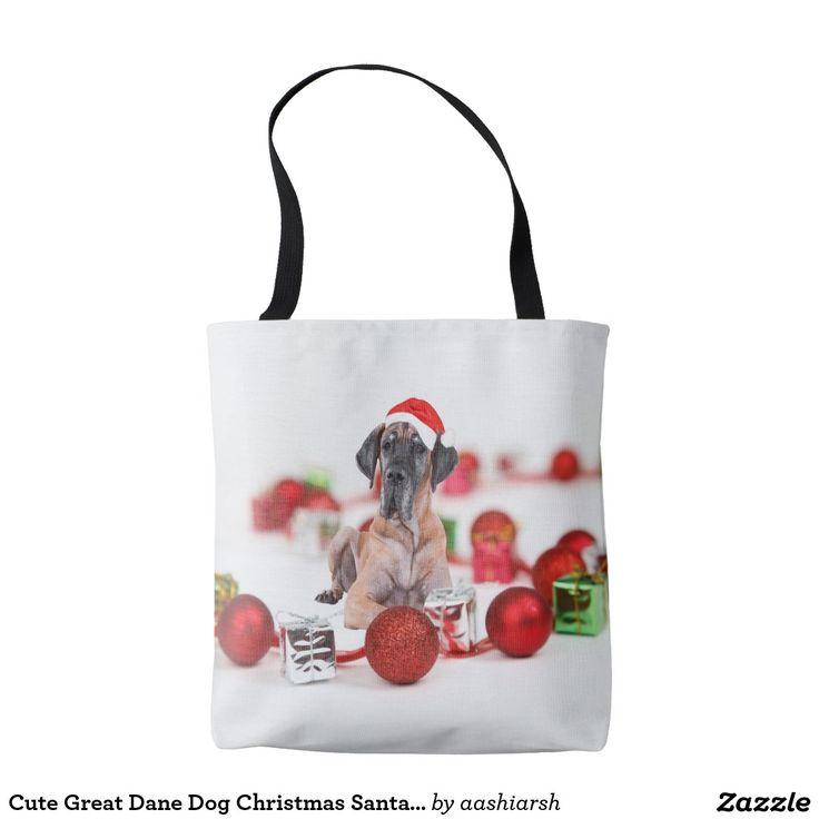 Cute Great Dane Dog Christmas Santa Hat Tote Bag