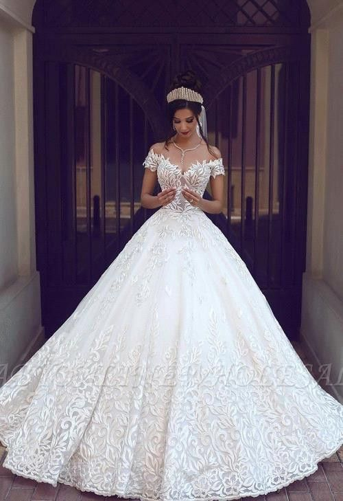 Gorgeous Off-the-Shoulder Lace New Short-Sleeve Long Wedding Dresses | www.babyo…