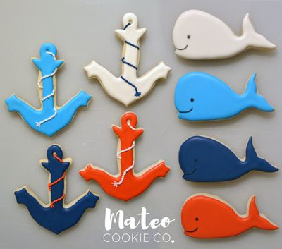 Whale and Anchor Baby Shower Decorated Cookies (Red, White, Navy Blue) mateocookieco.com
