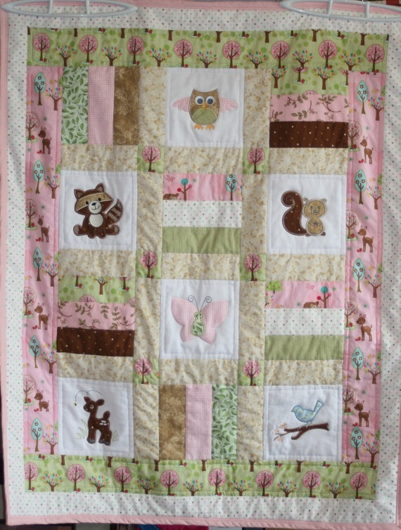 Custom Made Woodland Creatures Baby Quilt By Customquiltsbykathy 165 00 Baby Collyn