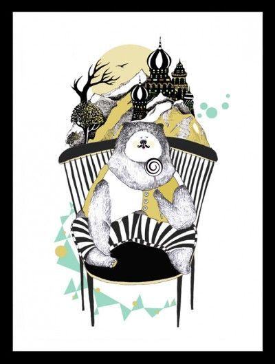 Candy loving bear -illustration - illustrationer - TAVLOR & POSTERS