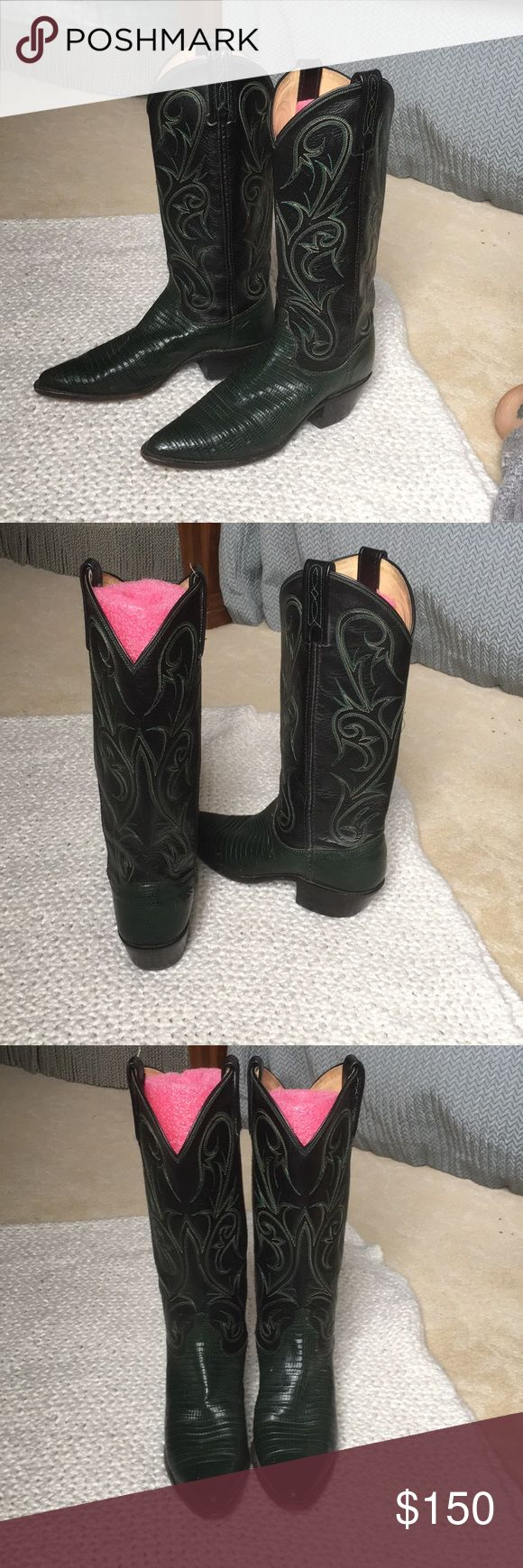 Snakeskin Cowboy Boots Great condition women's cowboy boots! Hardly worn, super edgy and cool. Dan Post Shoes Heeled Boots