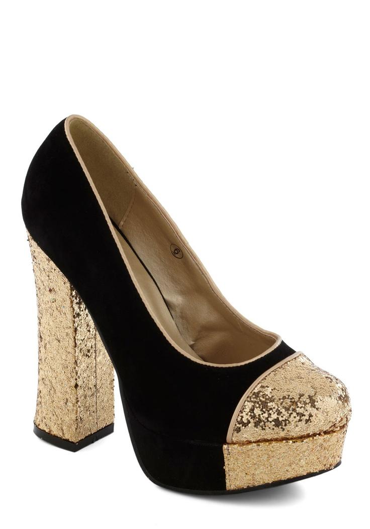 Gold Coast Heel in Black - Black, Gold, Solid, Glitter, High, Platform, Vintage Inspired, 70s, Luxe