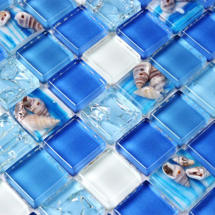 海シェル青いガラスモザイクタイルキッチンbacksplashの浴室の壁タイルシャワー背景廊下wasitlineスイミングプールタイル(China (Mainland))