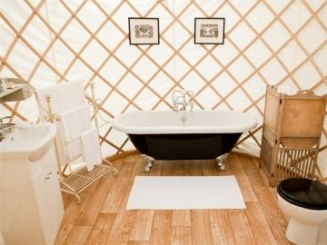 Priory Bay Luxury Yurts - separate yurt bathroom