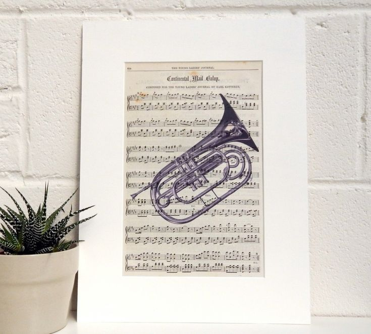 Antique Publication Sheet Music Print, Musical Instrument Decor, Flugel Horn Print, Music Lover Gift, Music Room Wall Art, Brass Band Gift by TicketyBooPrints on Etsy