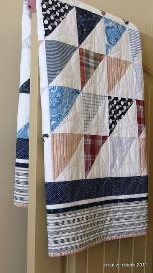 Sheets and Shirts on the Door, made from recycled shirts and sheets by Ana Oliva