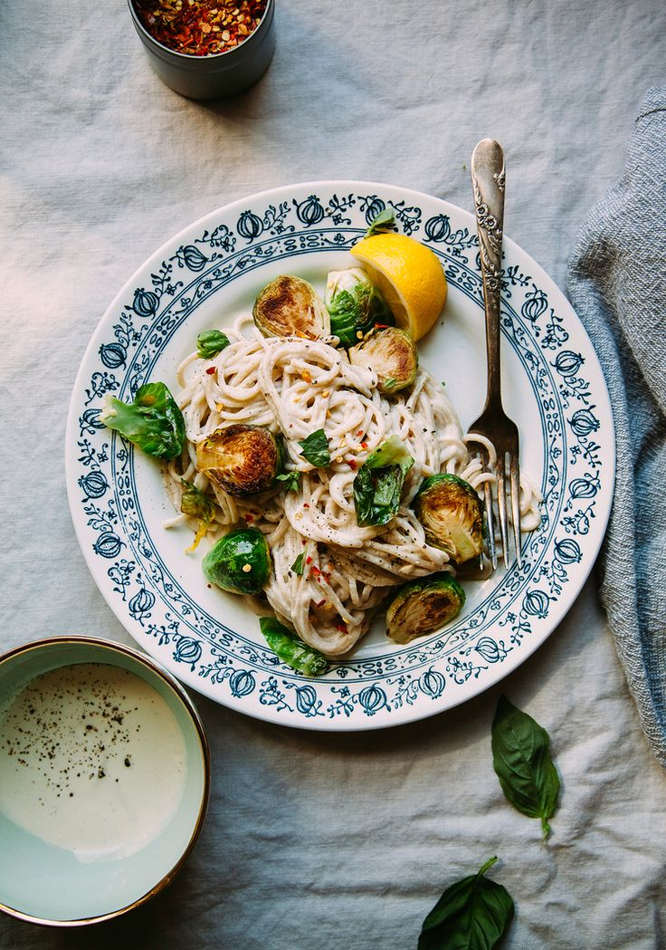 "creamy miso pasta w/ brussels sprouts from ""Love & Lemons"" - The First Mess"