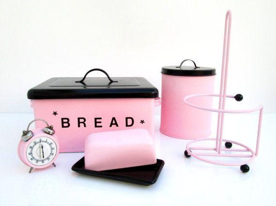 Hey, I found this really awesome Etsy listing at https://www.etsy.com/listing/206787051/retro-pink-black-kitchen-set-kitchen