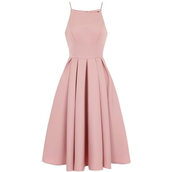 Chi Chi London Strappy Fit & Flare Prom Dress ($87) ❤ liked on Polyvore featuring dresses, pink, women, mesh prom dress, strap dress, bow dress, cocktail prom dress and pleated fit and flare dress