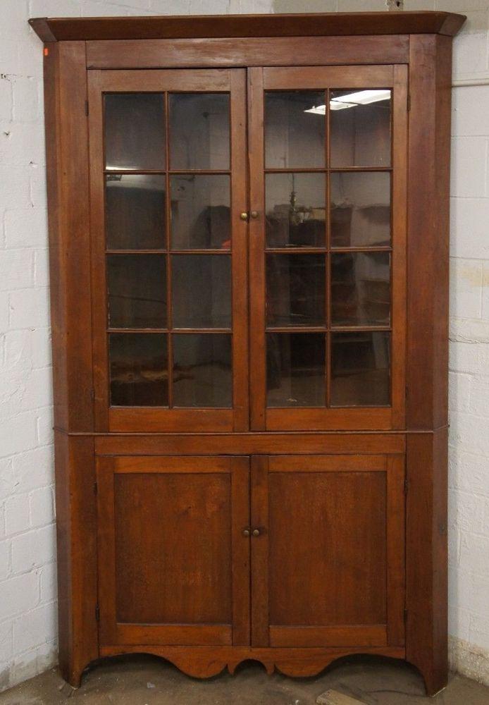 Early American Solid Oak Corner Cabinet Massive Curio Handmade Primitive Antique #RusticPrimitive #Handmade