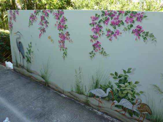 Egrets and Ibis decorate are the subject of this tropical outside mural