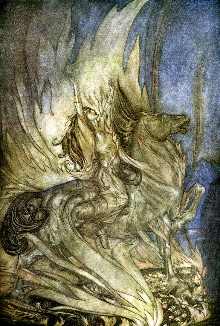 Brunnhilde on Grane leaps on to the funeral pyre of Siegfried     Arthur Rackham