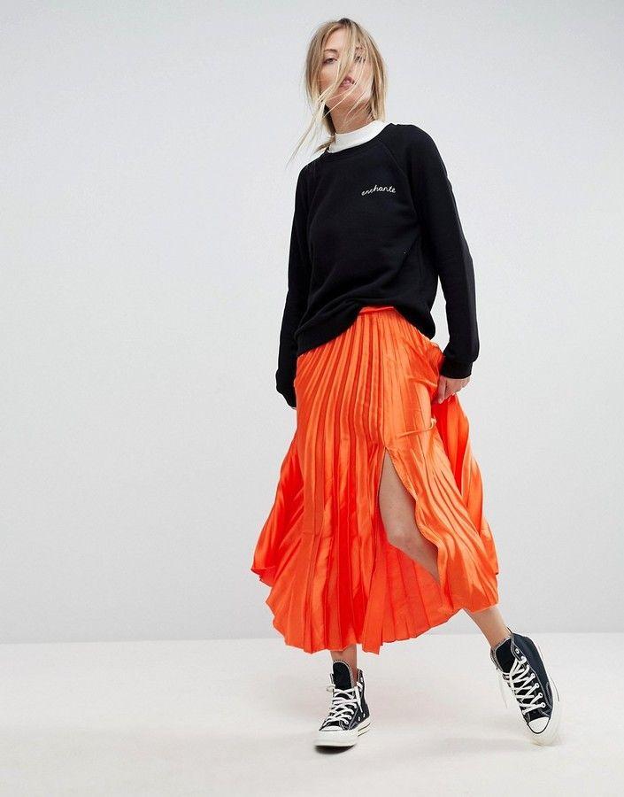 ASOS Satin Pleated Midi Skirt with Thigh Split
