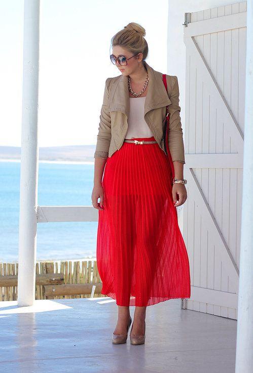 Inpirações | Saia vermelha, Ideias fashion, Roupas