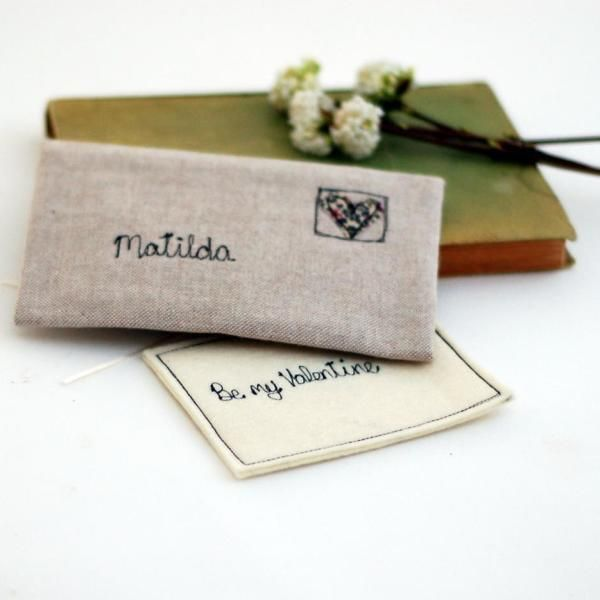 Personalised love note in linen envelope